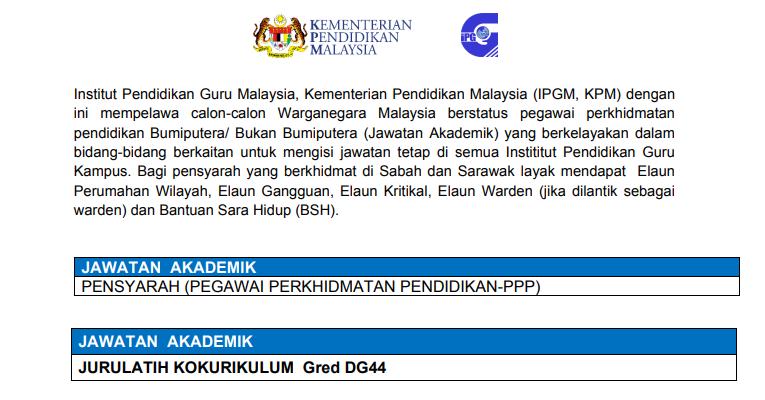 Kekosongan Terkini di Institut Pendidikan Guru Malaysia (IPGM)