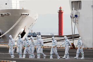 The number of coronavirus infected in the quarantined cruise ship in Japan rises to 64