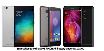 Smartphones with 4000mAh battery and higher under Rs 10,000