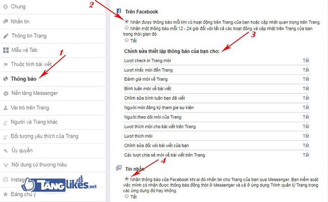 bat thong bao fanpage facebook