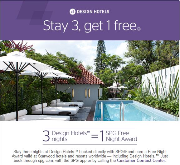 Starwood preferred guest spg design hotels free night for Design hotels wiki