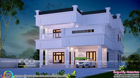 2860 square feet 4 bedroom decorative flat roof Kerala house