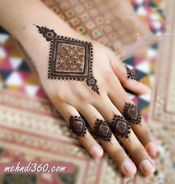 Square Mehndi Design Back Hand