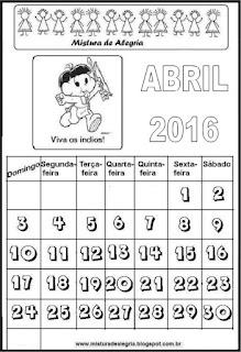 Calendário de 2016 - abril