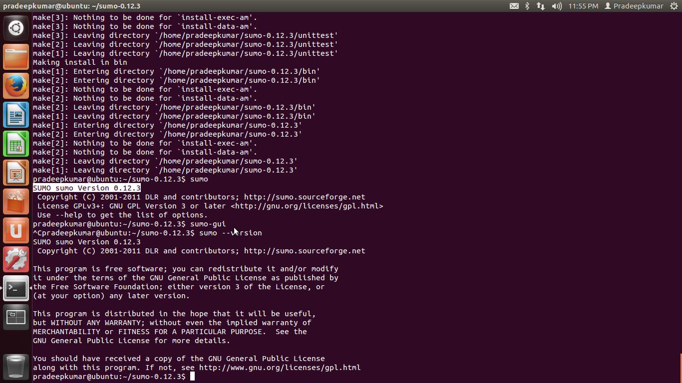 Network Simulators: Simulation of Urban Mobility (SUMO) in Ubuntu 12 04