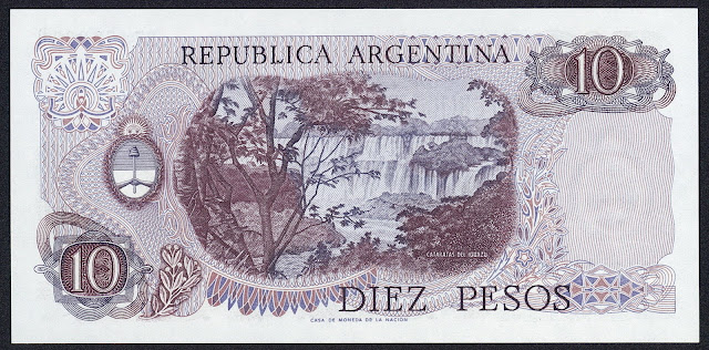 Argentina money currency 10 Pesos banknote 1976 Iguazu Falls, waterfalls of the Iguazu River