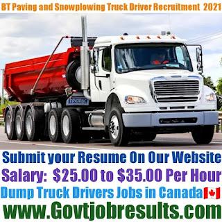 BT Paving and Snowplowing Ltd Dump Truck Driver Recruitment 2021-22