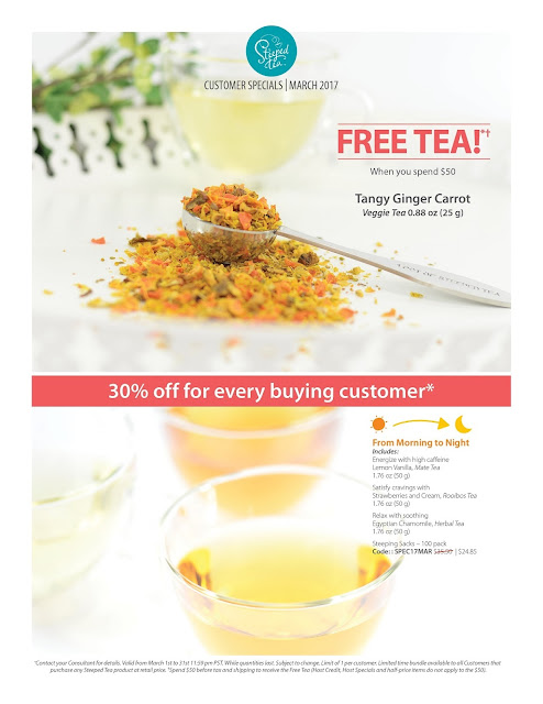 March 2017 customer specials - free Tangy Ginger Carrot tea when you spend $50