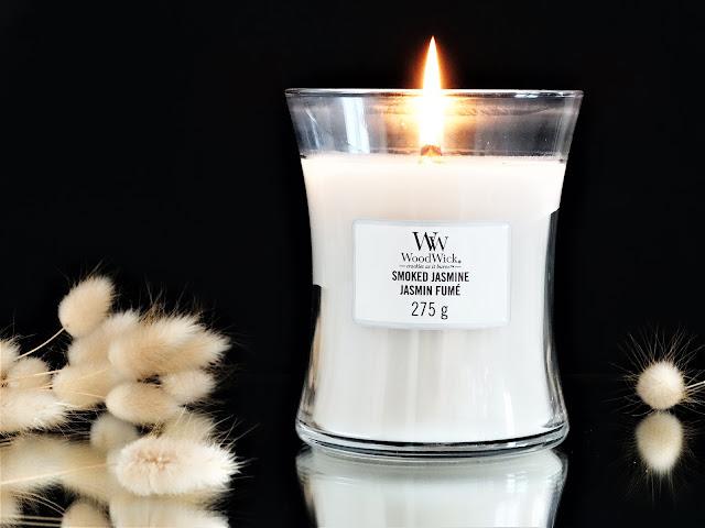woodwick smoked jasmine avis, woodwick jasmin fumé avis, avis bougie, bougie parfumée woodwick, bougie parfumée au jasmin