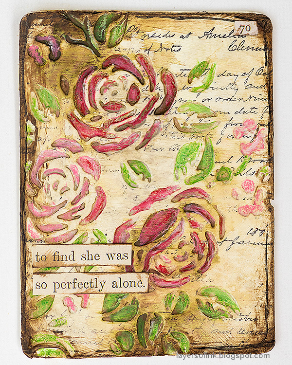 Layers of ink - Vintage Flower Artist Trading Cards Tutorial by Anna-Karin Evaldsson. Rose card.