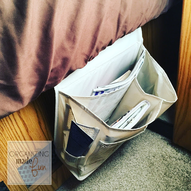 Bedside Caddy slips under mattress :: OrganizingMadeFun.com