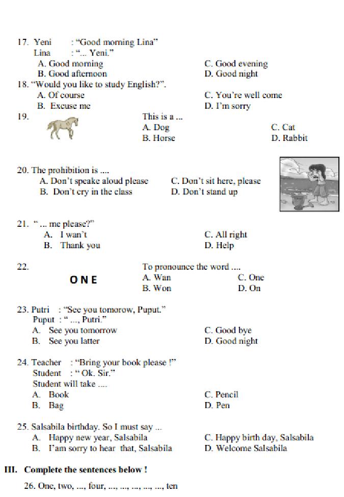 Soal Latihan UAS / Ulangan Bahasa Inggris Kelas 4 Semester 1