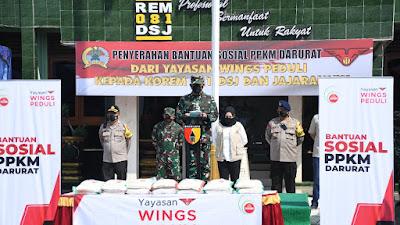 Kerjasama dengan Yayasan Wings Peduli, Korem 081/DSJ Siap Salurkan Bansos PPKM Darurat