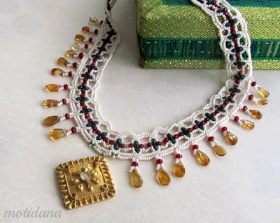 beaded lace, refashioned jewellery, Indian jewellery of pearls, http://kalaabhushan.blogspot.in/