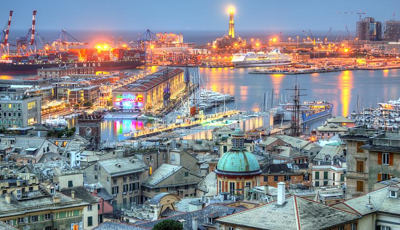 World___Italy_Port_lights_in_Genoa__Ital