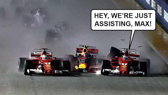 """Two Ferraris crashing into Max Verstappen's Bed Bull, with one Ferrari driver saying """"Hey, we're just assisting, Max!"""""""