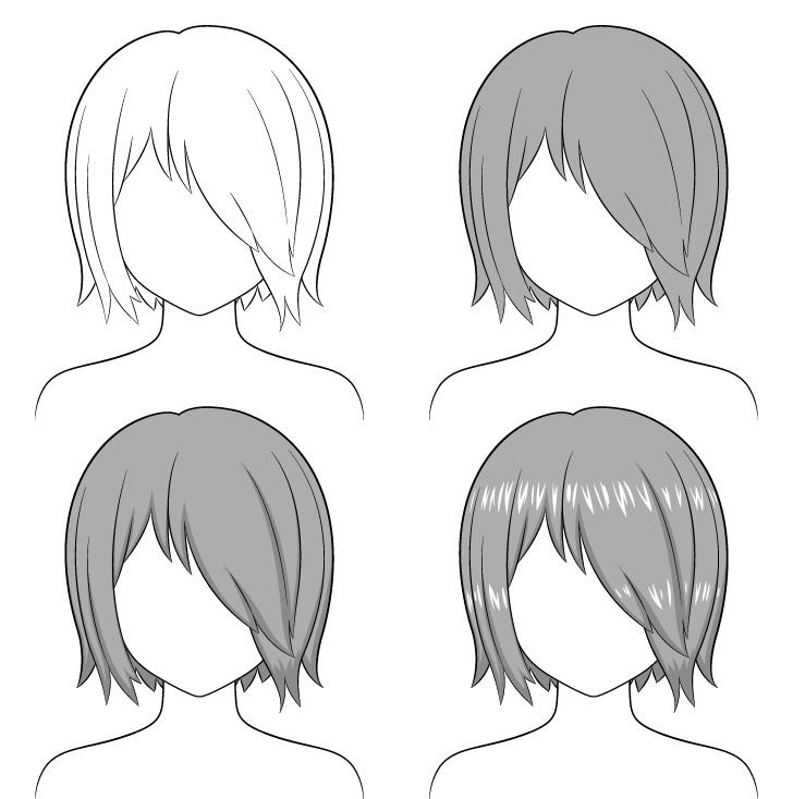 Shading rambut anime di atas satu mata selangkah demi selangkah