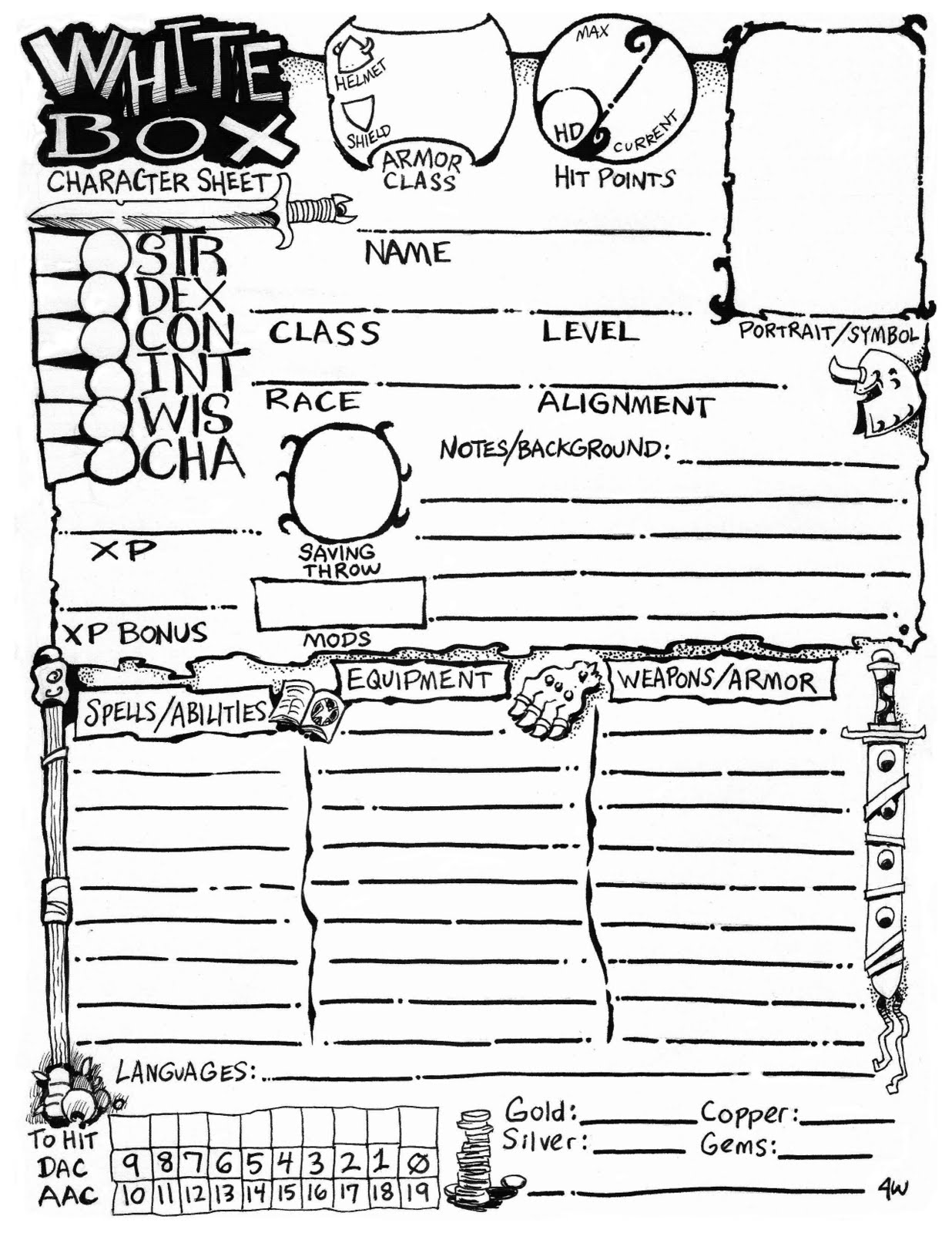 Character Sheet by James V.  West
