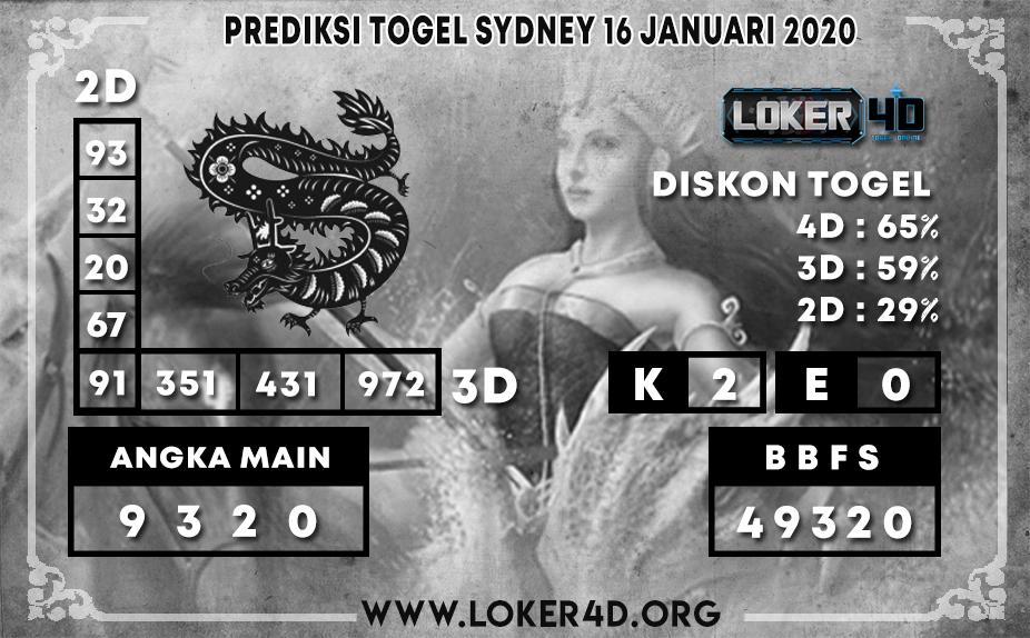 PREDIKSI TOGEL SYDNEY LOKER4D 16 JANUARI 2020