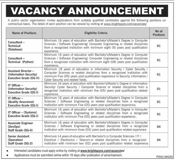 Public Sector Organization Management Posts Karachi 2020 For IT Officer, Quality Assurance Officer, Associate Engineer & more