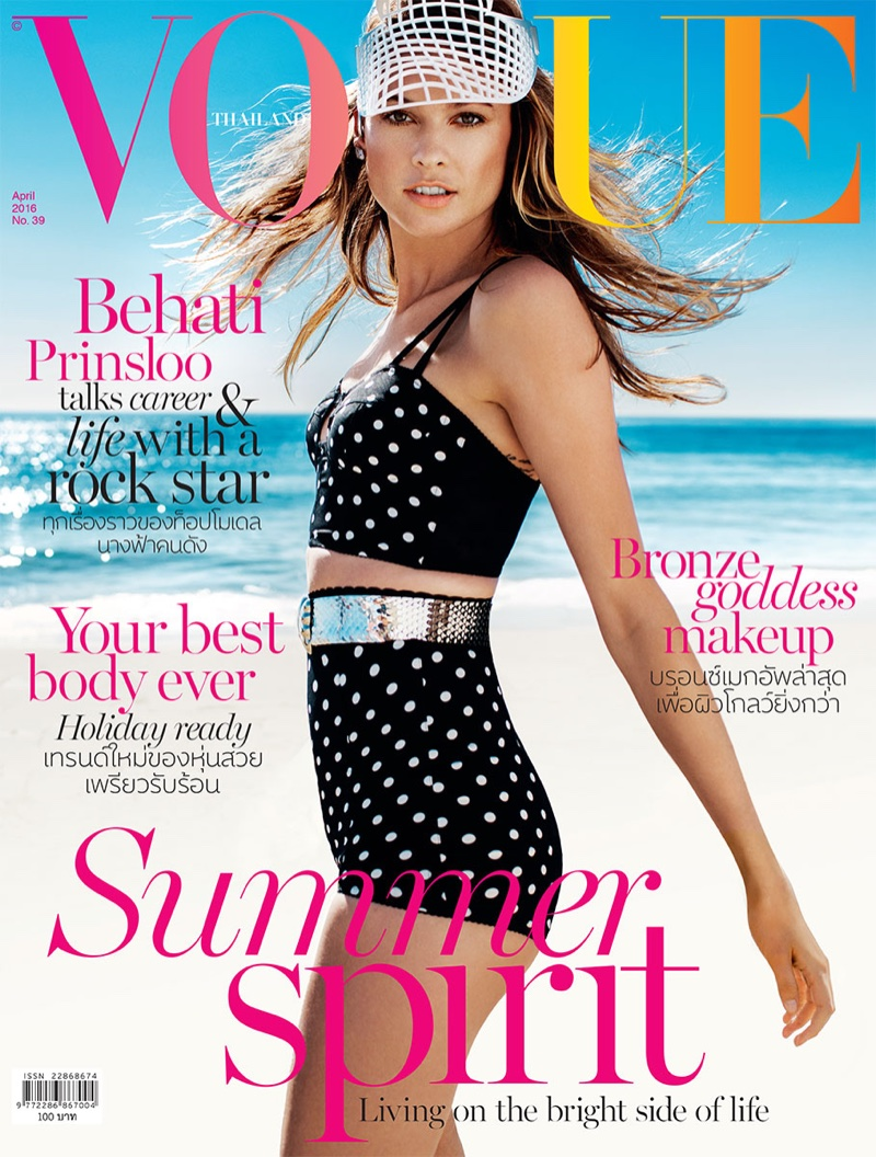 Behati Prinsloo models beach fashion for Vogue Thailand