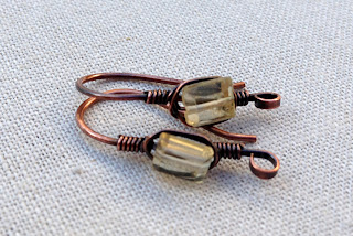 Copper and Citrine Ear Wire Findings