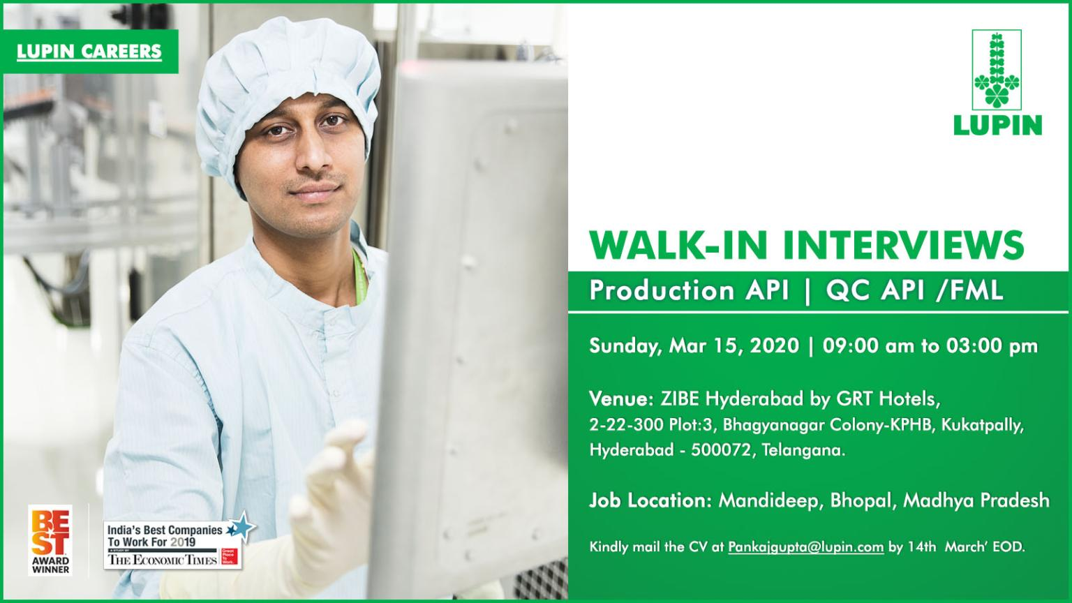 Lupin Limited – Walk in interview for Production & Quality Control on Mar 15th, 2020