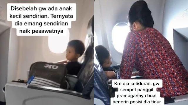 Viral Video TikTok Anak Kecil Berani Naik Pesawat Sendiri, Ingin Kunjungi sang Ayah di Rumah Sakit