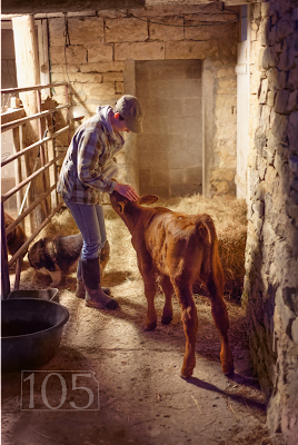 photo, woman with calf