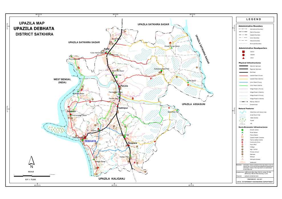 Debhata Upazila Map Satkhira District Bangladesh