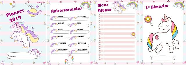 Planner Educação Infantil Unicórnio 2019 em PDF