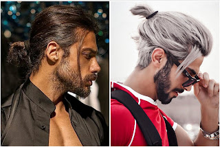 Two men with a ponytail hairstyle.