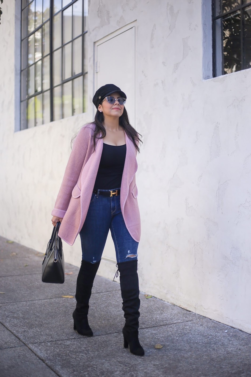 How to wear a pink cardigan this fall, pink in fall fashion, how to wear a pink sweater
