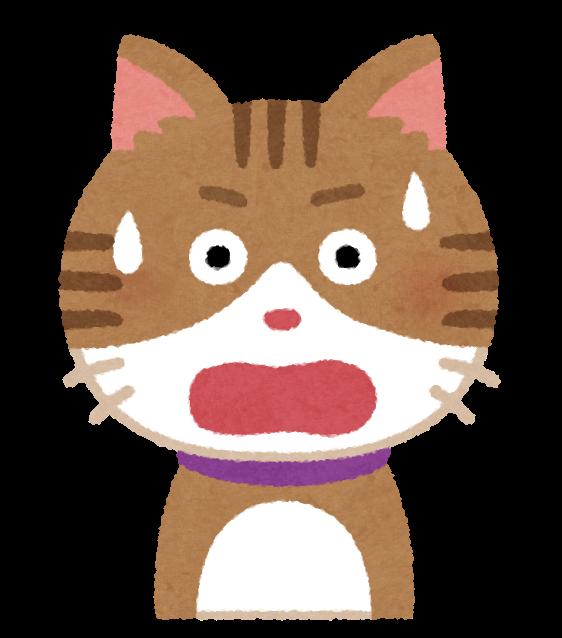 いろいろな表情の猫のイラスト ひらめいた顔 驚いた顔 焦った顔