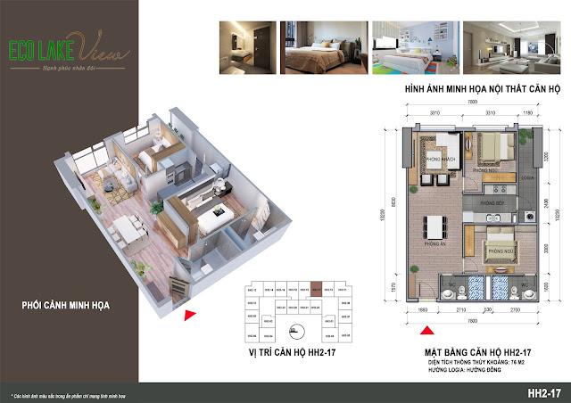 Thiết kế căn hộ B1-17 chung cư Eco Lkae View