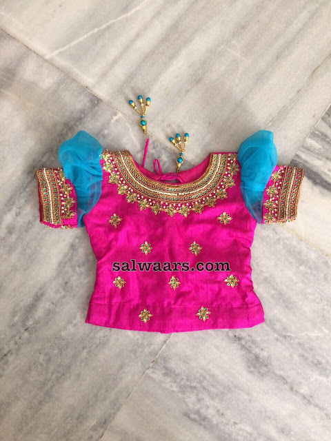 Sky Blue Lehenga with Pink Blouse