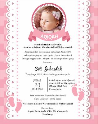 contoh undangan aqiqah anak perempuan