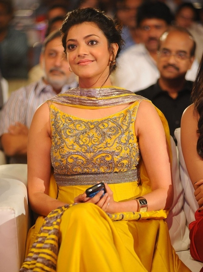 Glamours Actress Kajal Agarwal Stills In Yellow Dress