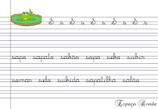 caderno de caligrafia letra S