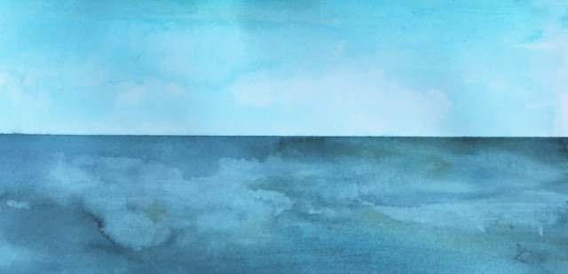 ocean, still waters, sky, watercolor, painting