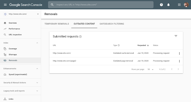 Removals Tool in Search Console