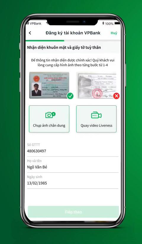 Hướng dẫn mở tài khoản ngân hàng eKYC VPBank online