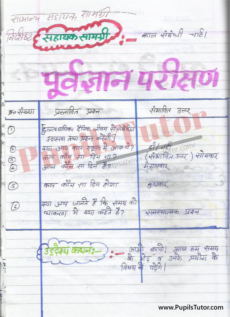 बीएड  1st year 2nd year / Semester के विद्यार्थियों के लिए हिंदी की पाठ योजना कक्षा 4,5,6 , 7 , 8, 9, 10 , 11 , 12   के लिए काल  टॉपिक पर