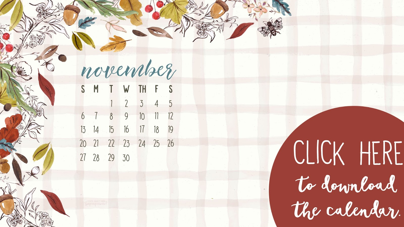 November 2016 Desktop Calendar Free Download