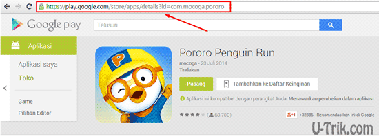 Copy URL Aplikasi Google play store