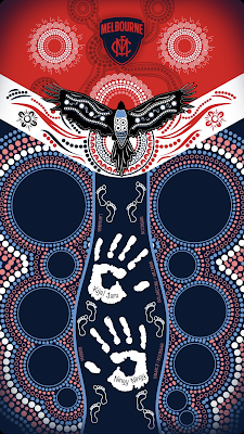 Indigenous art on Melbourne Demons AFLW jumper.