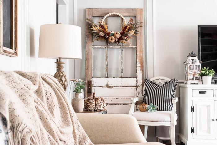 Fall wreath in farmhouse living room