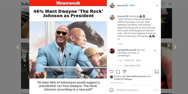 Berniat Gantikan Joe Biden, Aktor Laga The Rock Siap Jadi Presiden Amerika Berikutnya