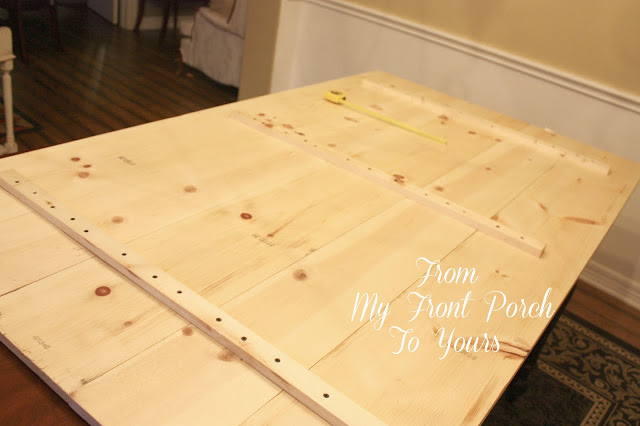 DIY Wood Planked Table Top- Farmhouse DIning Room Table- From My Front Porch To Yours