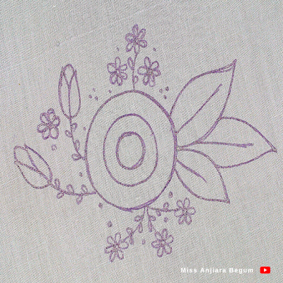 Hand drawing design for flower embroidery, pencil sketch